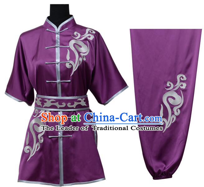 Top Kung Fu Costume Martial Arts Costume Kung Fu Training Purple Uniform, Gongfu Shaolin Wushu Embroidery Tai Ji Clothing for Women