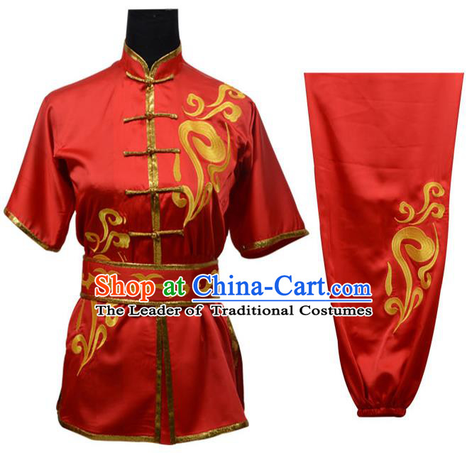 Top Kung Fu Costume Martial Arts Costume Kung Fu Training Red Uniform, Gongfu Shaolin Wushu Embroidery Tai Ji Clothing for Women