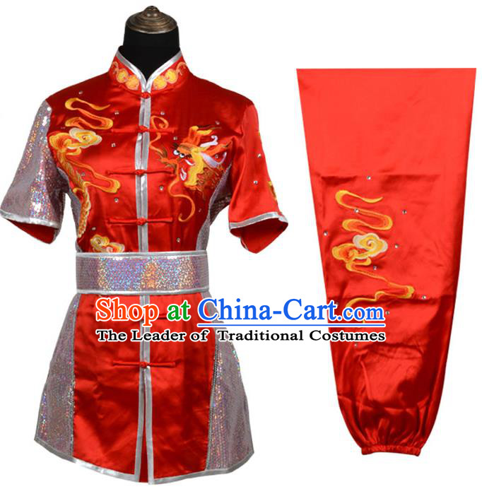 Top Kung Fu Costume Martial Arts Costume Kung Fu Training Red Rhinestone Uniform, Gongfu Shaolin Wushu Embroidery Tai Ji Clothing for Women