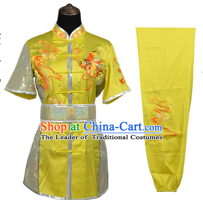 Top Kung Fu Costume Martial Arts Costume Kung Fu Training Yellow Rhinestone Uniform, Gongfu Shaolin Wushu Embroidery Tai Ji Clothing for Women