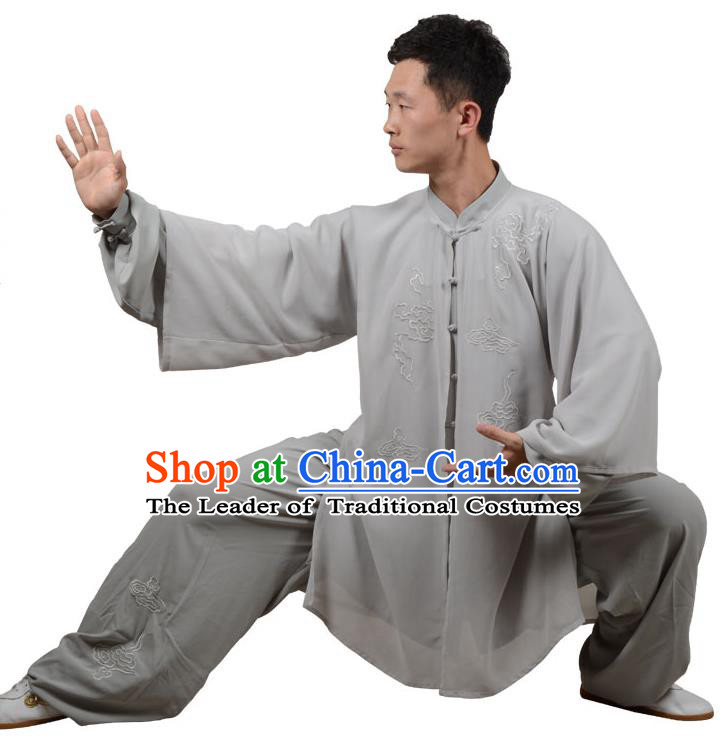 Top Kung Fu Costume Martial Arts Costume Kung Fu Training Grey Uniform, Gongfu Shaolin Wushu Embroidery Tai Ji Three-Piece Clothing for Women for Men
