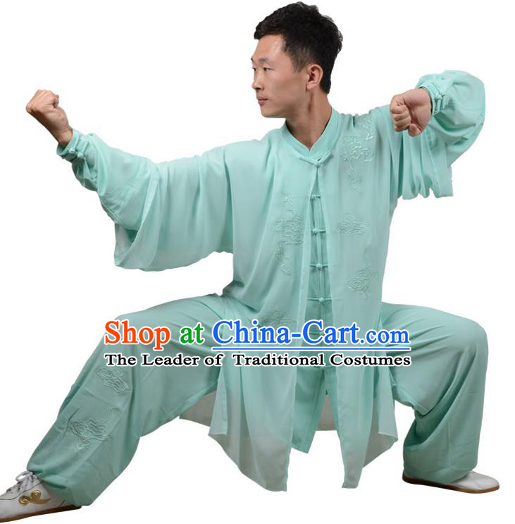 Top Kung Fu Costume Martial Arts Costume Kung Fu Training Green Uniform, Gongfu Shaolin Wushu Embroidery Tai Ji Three-Piece Clothing for Women for Men