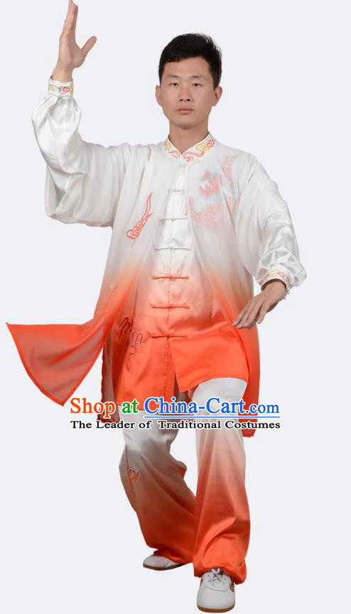 Top Kung Fu Costume Martial Arts Costume Kung Fu Training Orange Uniform, Gongfu Shaolin Wushu Embroidery Dragon Tai Ji Clothing for Women for Men