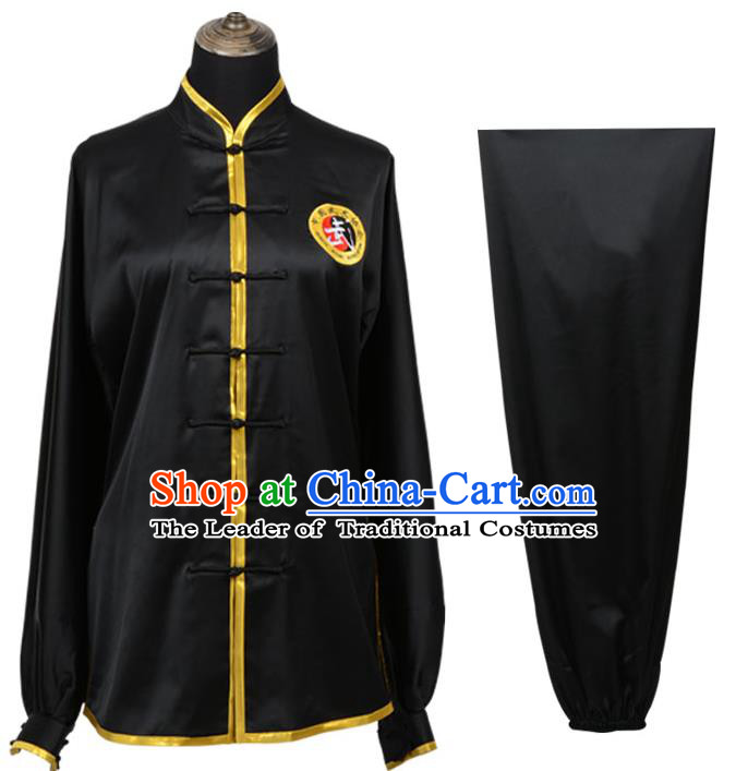 Top Kung Fu Costume Martial Arts Costume Kung Fu Training Plated Buttons Black Uniform, Gongfu Shaolin Wushu Tai Ji Clothing for Women for Men