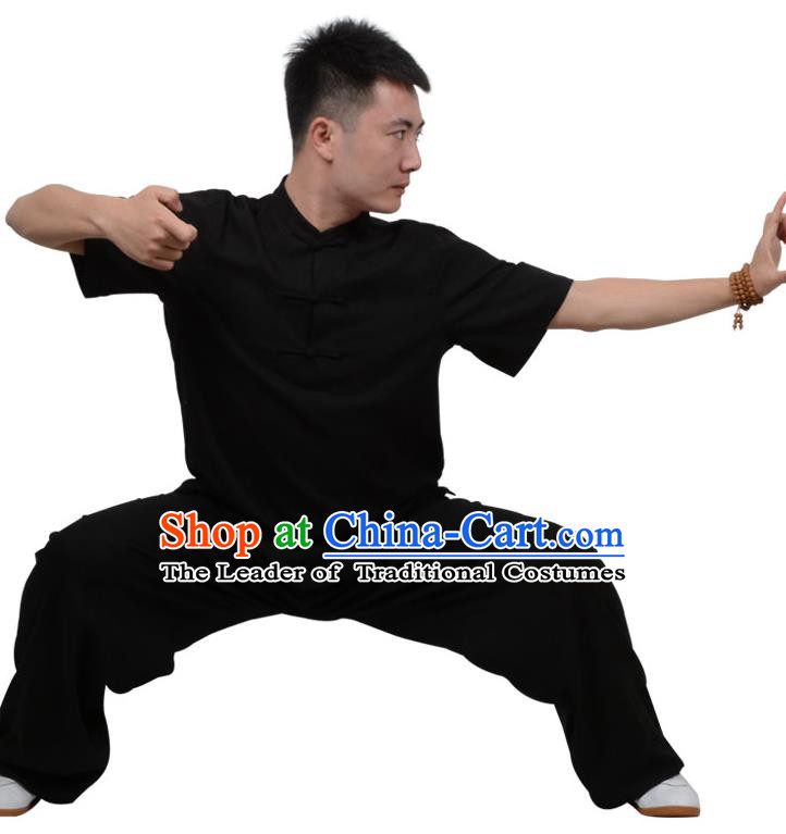 Top Kung Fu Linen Costume Martial Arts Costume Kung Fu Training Plated Buttons Black Uniform, Gongfu Shaolin Wushu Tai Ji Clothing for Women for Men