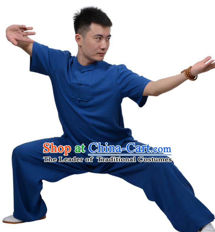Top Kung Fu Linen Costume Martial Arts Costume Kung Fu Training Plated Buttons Blue Uniform, Gongfu Shaolin Wushu Tai Ji Clothing for Women for Men