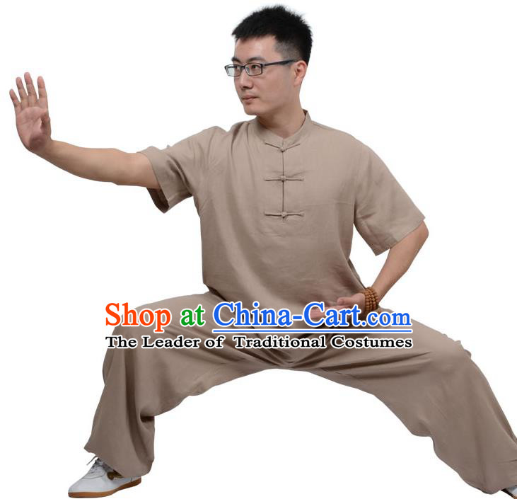 Top Kung Fu Linen Costume Martial Arts Costume Kung Fu Training Plated Buttons Brown Uniform, Gongfu Shaolin Wushu Tai Ji Clothing for Women for Men