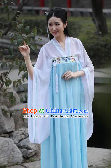 Traditional Ancient Chinese Palace Princess Embroidered Costume Fairy Blouse and Slip Skirt, Elegant Hanfu Chinese Tang Dynasty Young Lady Dress Clothing