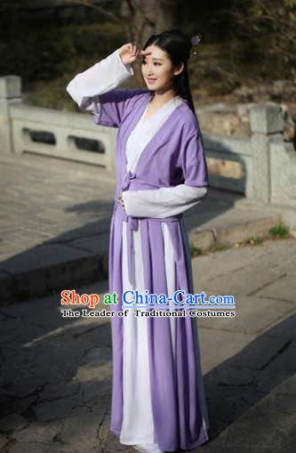 Traditional Ancient Chinese Swordswoman Embroidered Costume Purple Blouse and Slip Skirt, Elegant Hanfu Chinese Song Dynasty Young Lady Dress Clothing