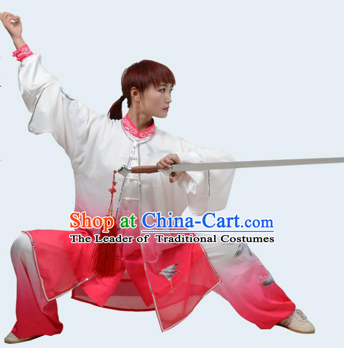 Top Kung Fu Costume Martial Arts Costume Kung Fu Training Gradient Pink Uniform, Gongfu Shaolin Wushu Embroidery Crane Tai Ji Clothing for Women for Men