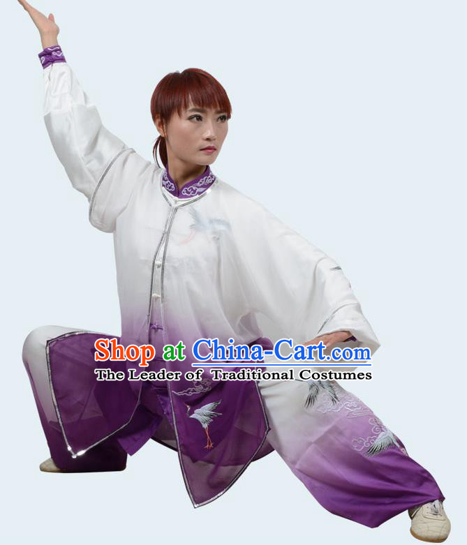 Top Kung Fu Costume Martial Arts Costume Kung Fu Training Gradient Purple Uniform, Gongfu Shaolin Wushu Embroidery Crane Tai Ji Clothing for Women for Men