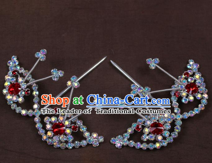 Traditional China Beijing Opera Actress Hair Accessories Crystal Hairpins, Chinese Peking Opera Diva Headwear
