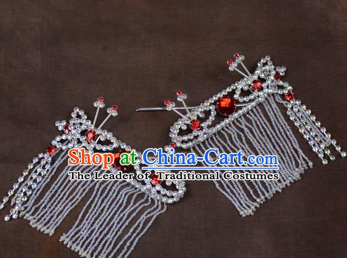 Traditional China Beijing Opera Actress Hair Accessories, Chinese Peking Opera Diva Tassel Hairpins Headwear