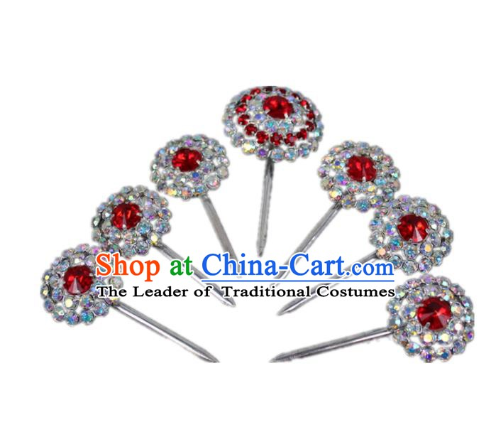 Traditional China Beijing Opera Actress Crystal Hair Accessories, Chinese Peking Opera Diva Hairpins Headwear