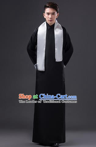 Traditional Chinese Republic of China Costume Black Long Gown, China National Comic Dialogue Clothing for Men