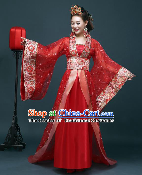 Traditional Chinese Ancient Imperial Concubine Costume, China Tang Dynasty Palace Lady Hanfu Embroidered Dress for Women
