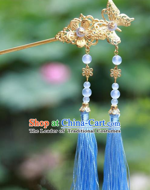 Traditional Chinese Handmade Hair Accessories Hairpins Hanfu Blue Tassel Step Shake for Kids