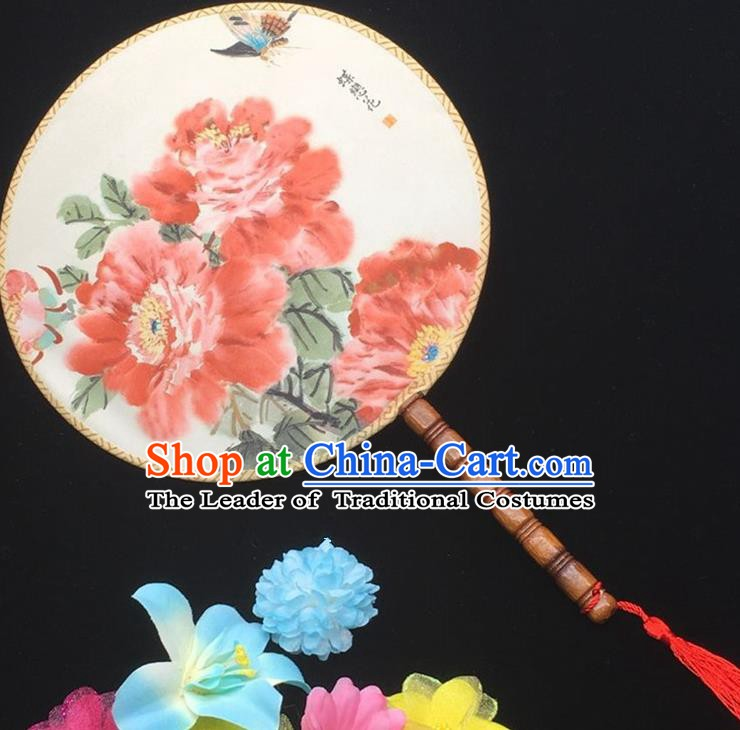 Traditional Chinese Handmade Palace Fans Hanfu Princess Printing Peony Round Fan for Women