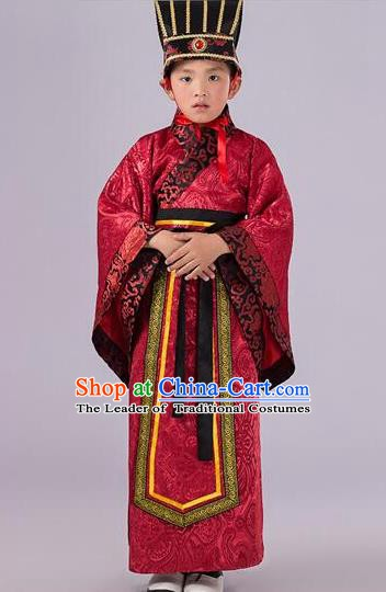 Traditional Chinese Han Dynasty Prime Minister Red Costume, China Ancient Chancellor Hanfu Clothing for Kids