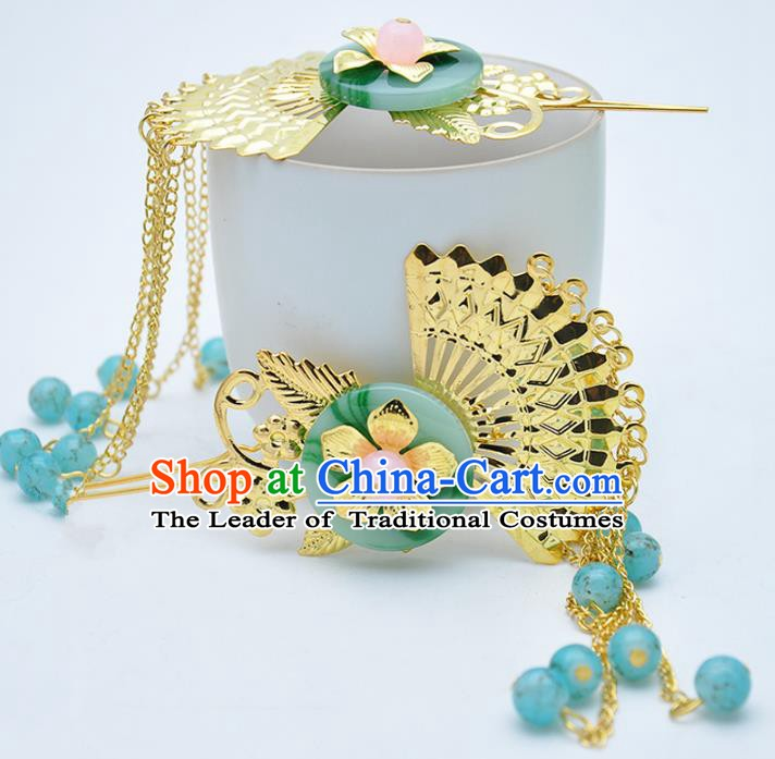 Traditional Handmade Chinese Ancient Classical Hair Accessories Blue Beads Tassel Step Shake Hairpins for Women
