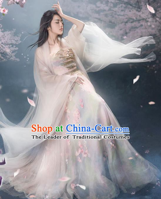 Traditional Chinese Tang Dynasty Princess Costume, China Ancient Palace Lady Fairy Hanfu Embroidered Dress for Women