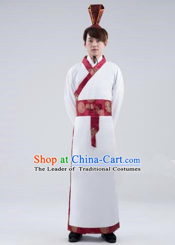 Traditional Chinese Han Dynasty Emperor Costume, China Ancient Majesty Hanfu Embroidered Robe for Men