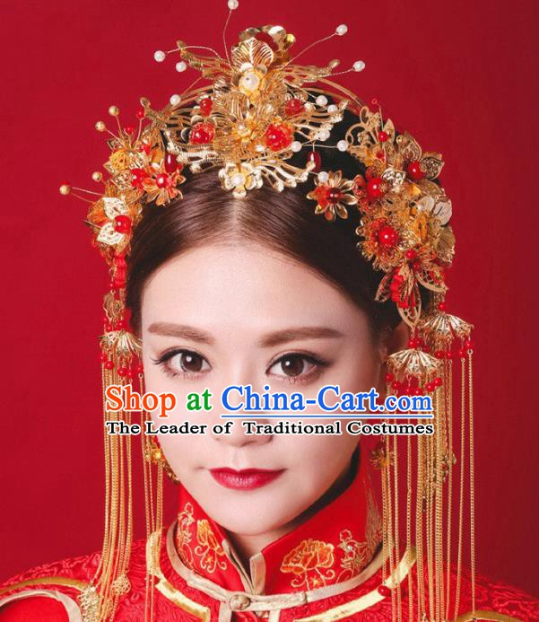 Traditional Handmade Chinese Classical Hair Accessories Bride Wedding Phoenix Coronet Xiuhe Suit Hairpins for Women
