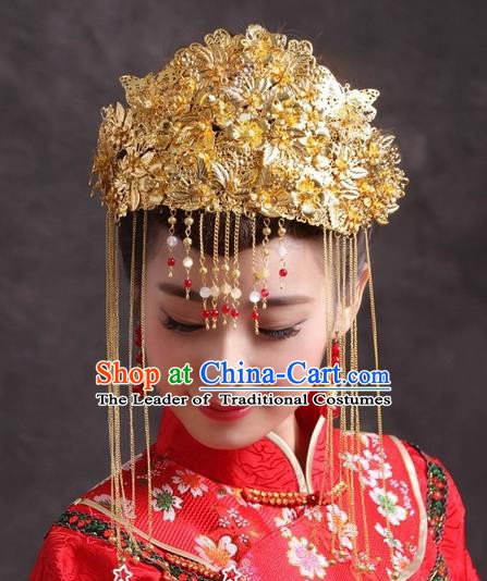 Traditional Handmade Chinese Classical Hair Accessories Bride Wedding Tassel Phoenix Coronet Hairpins for Women