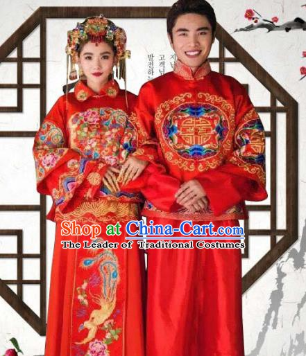 Chinese Traditional Wedding Costume Xiuhe Suits China Ancient Bride and Bridegroom Embroidered Clothing Complete Set