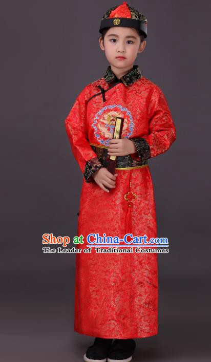 Traditional Chinese Qing Dynasty Children Emperor Costume, China Manchu Prince Red Embroidered Dragon Robe for Kids