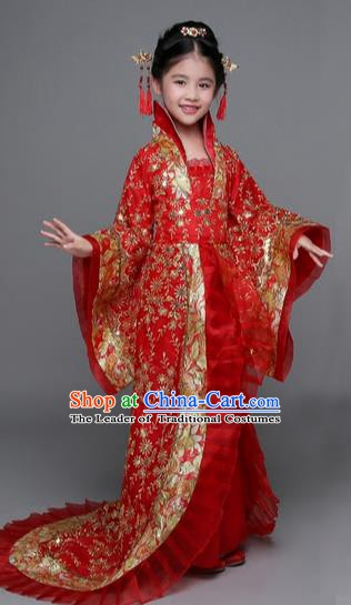 Traditional Chinese Tang Dynasty Imperial Concubine Costume, China Ancient Palace Lady Hanfu Embroidered Red Dress for Kids