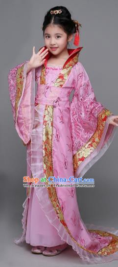 Traditional Chinese Tang Dynasty Imperial Concubine Costume, China Ancient Palace Lady Hanfu Embroidered Pink Dress for Kids