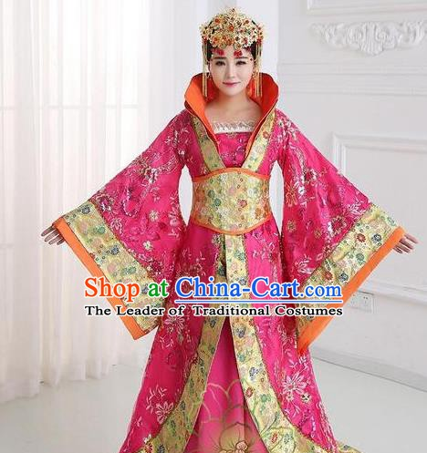 Traditional Chinese Tang Dynasty Imperial Concubine Rosy Costume, China Ancient Palace Lady Hanfu Embroidered Trailing Dress for Women