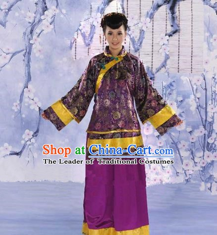 Traditional Chinese Republic of China Nobility Fairlady Costume, China Ancient Purple Xiuhe Suit Embroidered Clothing for Women