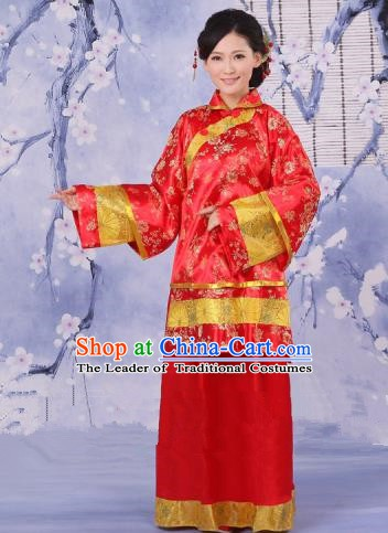 Traditional Chinese Republic of China Nobility Fairlady Costume, China Ancient Red Xiuhe Suit Embroidered Clothing for Women
