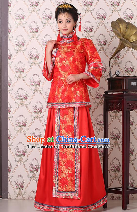 Traditional China Qing Dynasty Nobility Dowager Costume, Chinese Ancient Gentlewoman Embroidery Red Xiuhe Suit Clothing