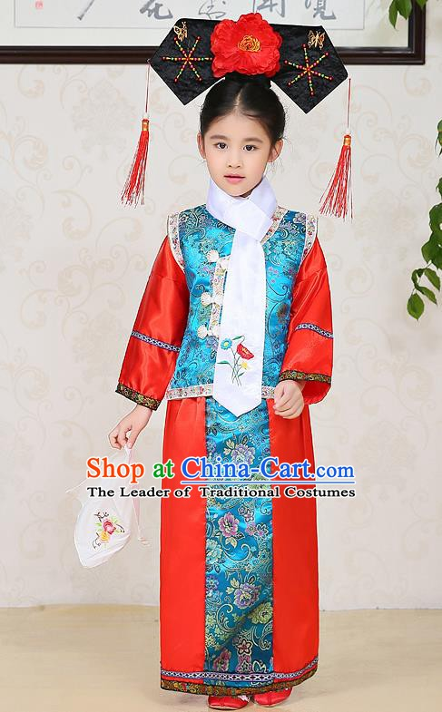 Traditional Chinese Qing Dynasty Children Princess Red Costume, China Manchu Palace Lady Embroidered Clothing for Kids