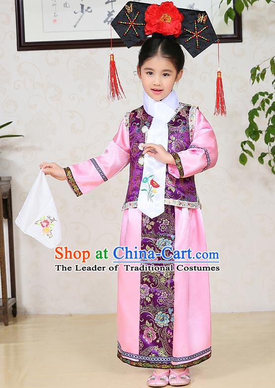Traditional Chinese Qing Dynasty Children Princess Purple Costume, China Manchu Palace Lady Embroidered Clothing for Kids