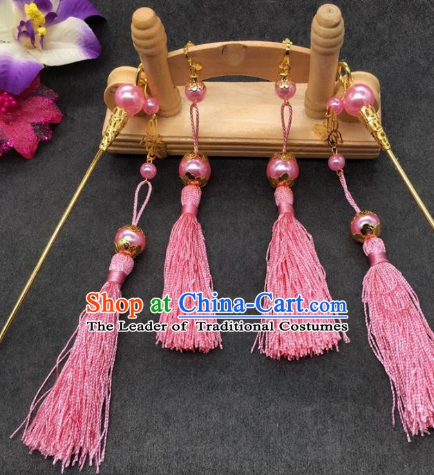 Traditional Handmade Chinese Ancient Classical Hair Accessories Hanfu Hairpins Pink Tassel Step Shake for Kids