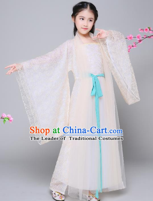 Traditional Chinese Tang Dynasty Palace Princess Costume, China Ancient Fairy Hanfu Dress for Kids