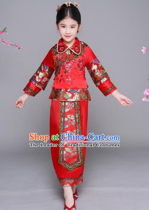 Traditional Chinese Qing Dynasty Palace Princess Costume, China Ancient Manchu Xiuhe Suit Embroidered Clothing for Kids