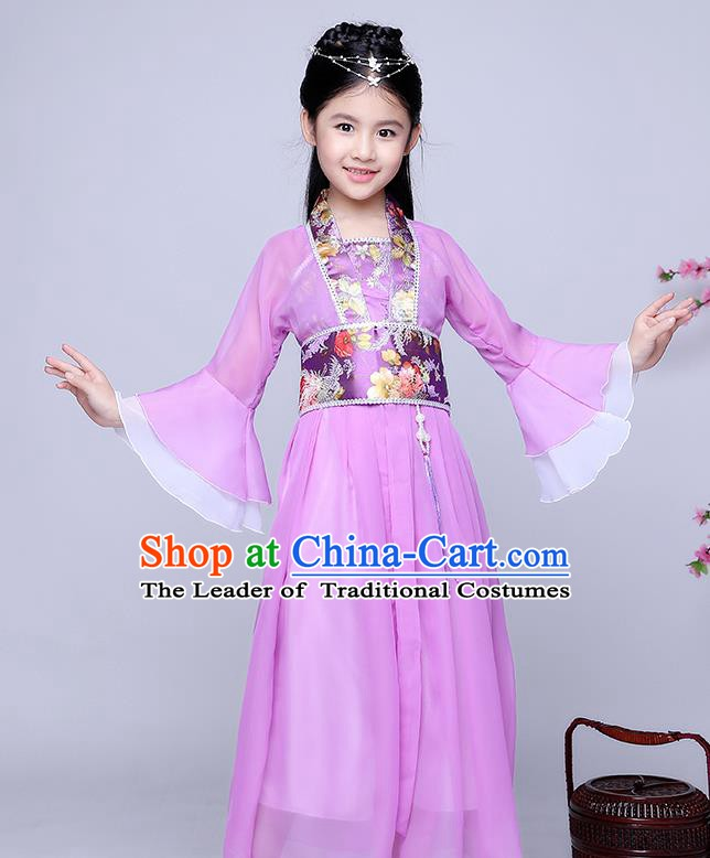 Traditional Chinese Tang Dynasty Seven Fairy Costume Ancient Princess Purple Dress Clothing for Kids