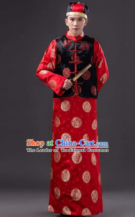 Traditional Chinese Qing Dynasty Bridegroom Costume, China Manchu Prince Embroidered Mandarin Jacket for Men