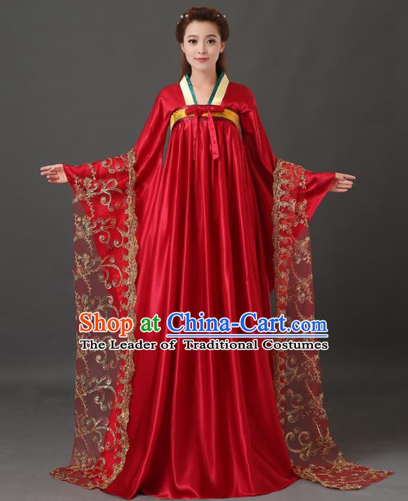Chinese Traditional Ancient Imperial Consort Costume, China Tang Dynasty Palace Lady Embroidered Clothing for Women