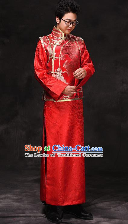 Ancient Chinese Qing Dynasty Wedding Costume China Traditional Bridegroom Embroidered Toast Clothing for Men