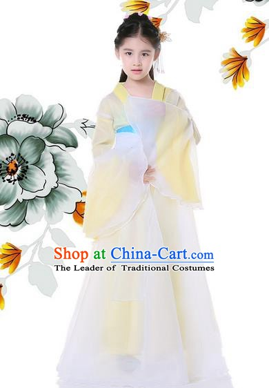 Traditional Chinese Ancient Palace Princess Costume, China Tang Dynasty Palace Lady Hanfu Embroidered Clothing for Kids