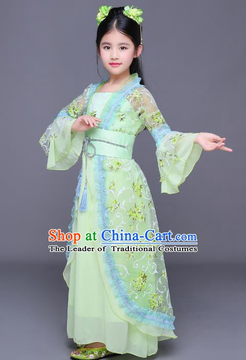 Traditional Chinese Ancient Palace Princess Costume, China Tang Dynasty Palace Lady Hanfu Green Dress for Kids