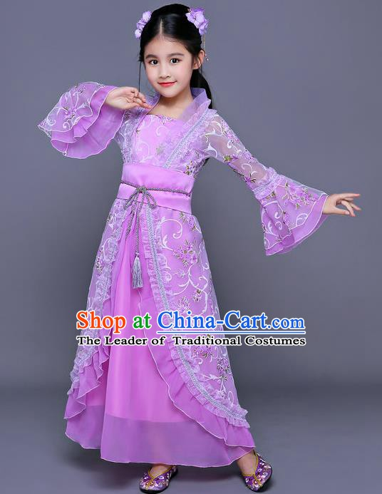 Traditional Chinese Ancient Palace Princess Costume, China Tang Dynasty Palace Lady Hanfu Trailing Dress for Kids