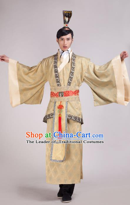 Traditional Chinese Han Dynasty Minister Yellow Costume, China Ancient Chancellor Hanfu Clothing for Men