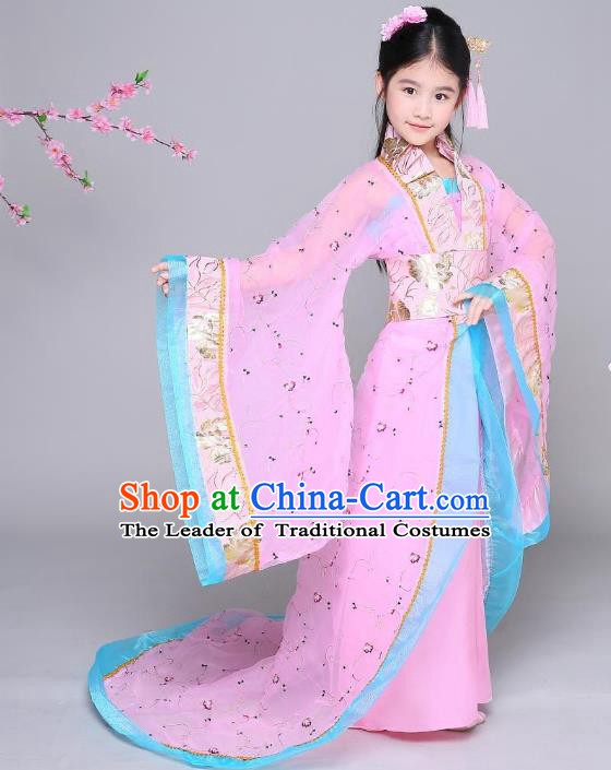 Traditional Chinese Tang Dynasty Imperial Concubine Costume, China Ancient Palace Lady Hanfu Clothing for Kids